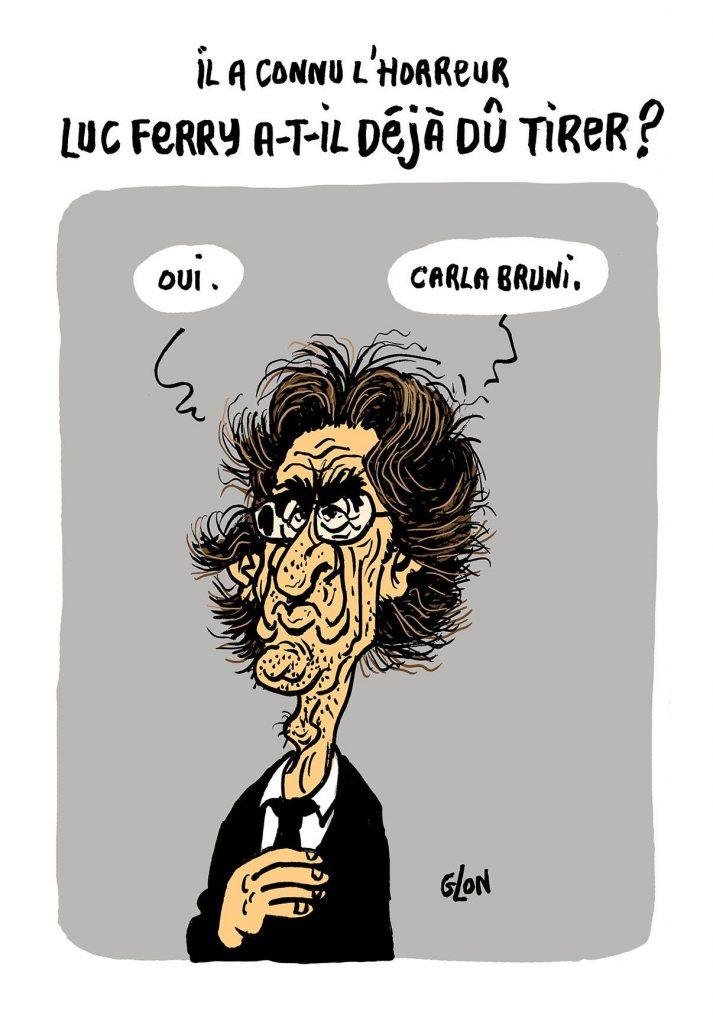 dessin d'actualité humoristique sur la proposition de Luc Ferry du tir à balles réelles par les CRS sur les gilets jaunes