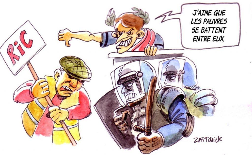 dessin d'actualité humoristique sur Emmanuel Macron gérant le mouvement des gilets jaunes