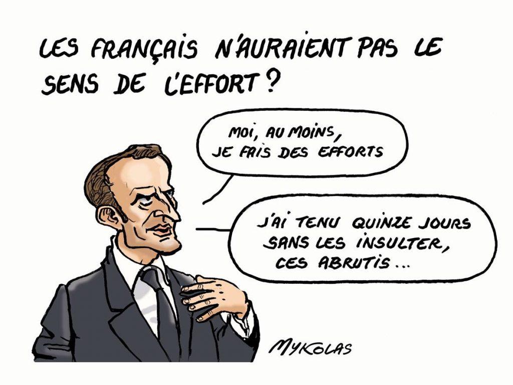 dessin d'actualité humoristique sur Emmanuel Macron reprochant aux français de n'avoir pas le sens de l'effort