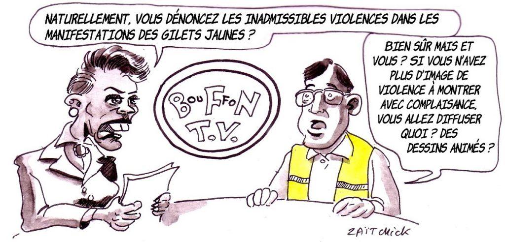 dessin d'actualité humoristique sur l'hypocrisie des médias français face au mouvement des gilets jaunes
