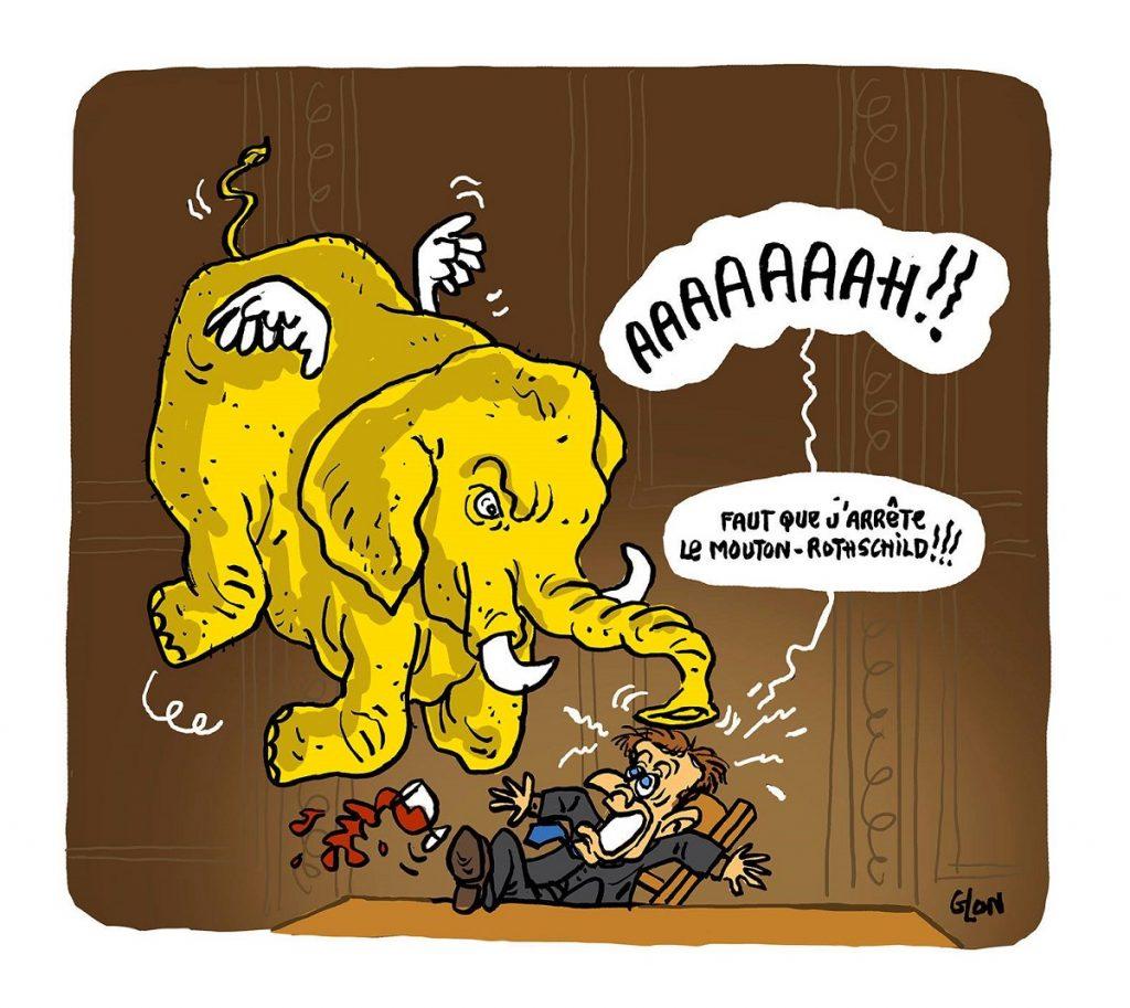 dessin d'actualité drôle sur Emmanuel Macron hanté par le mouvement des gilets jaunes