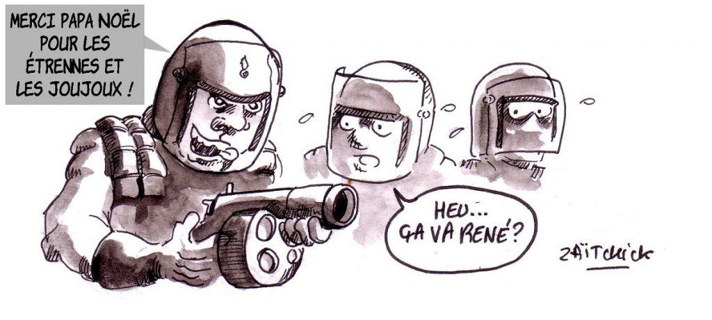 dessin d'actualité humoristique sur les violences policières et l'utilisation des flash-balls pendant les manifestations des gilets jaunes