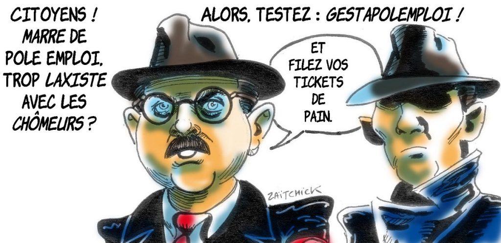 dessin d'actualité humoristique sur Emmanuel Macron reprochant aux français de n'avoir pas le sens de l'effort et la réforme de Pôle Emploi