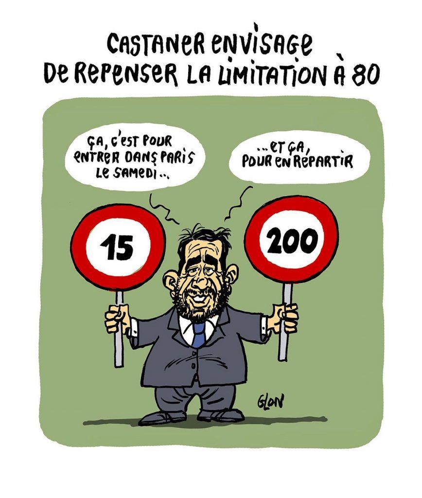 dessin d'actualité humoristique sur Christophe Castaner et les limitations de vitesse