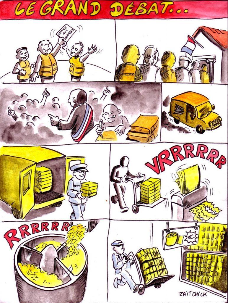 dessin d'actualité humoristique sur les gilets jaunes et le grand débat d'Emmanuel Macron