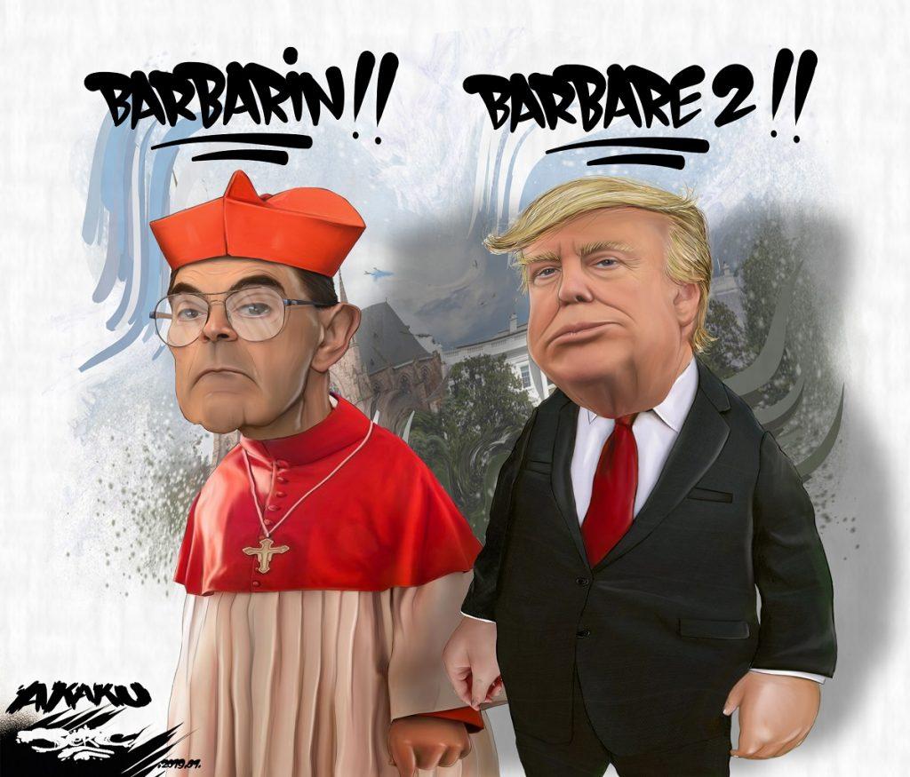 dessin d'actualité humoristique sur Monseigneur Barbarin et Donald Trump