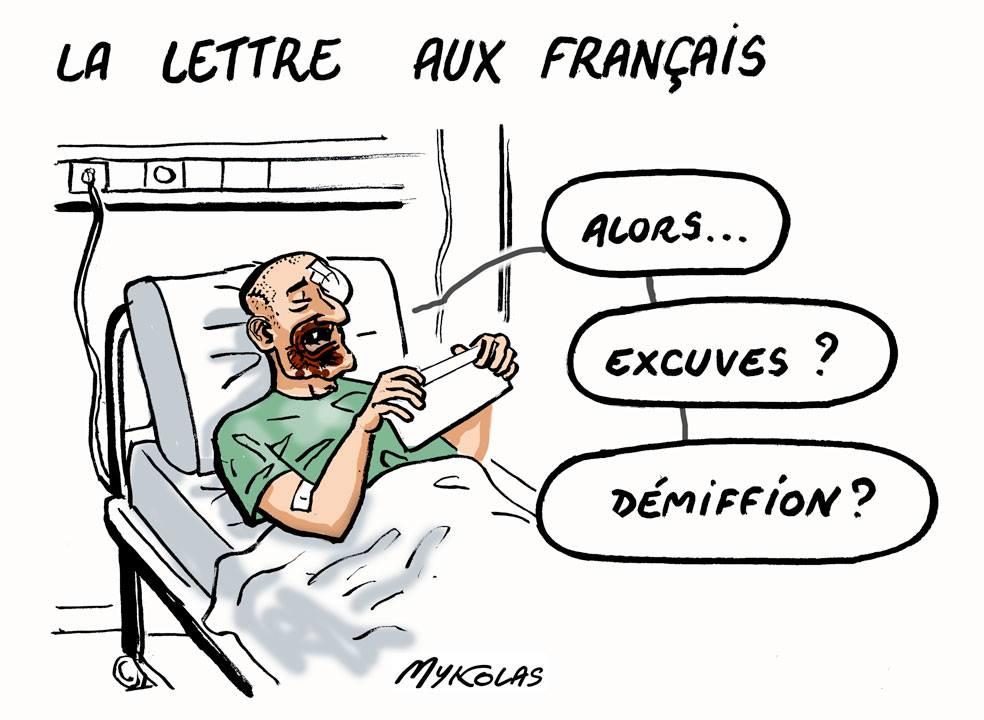 dessin d'actualité humoristique sur la lettre aux français d'Emmanuel Macron