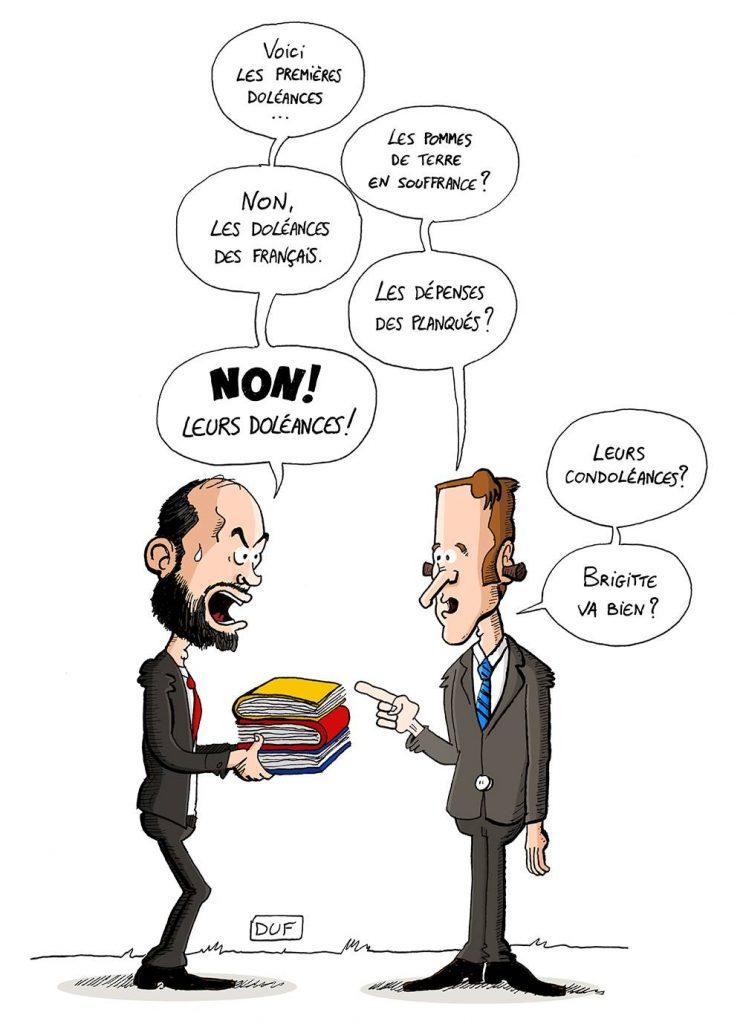 dessin d'actualité humoristique sur le grand débat national d'Emmanuel Macron