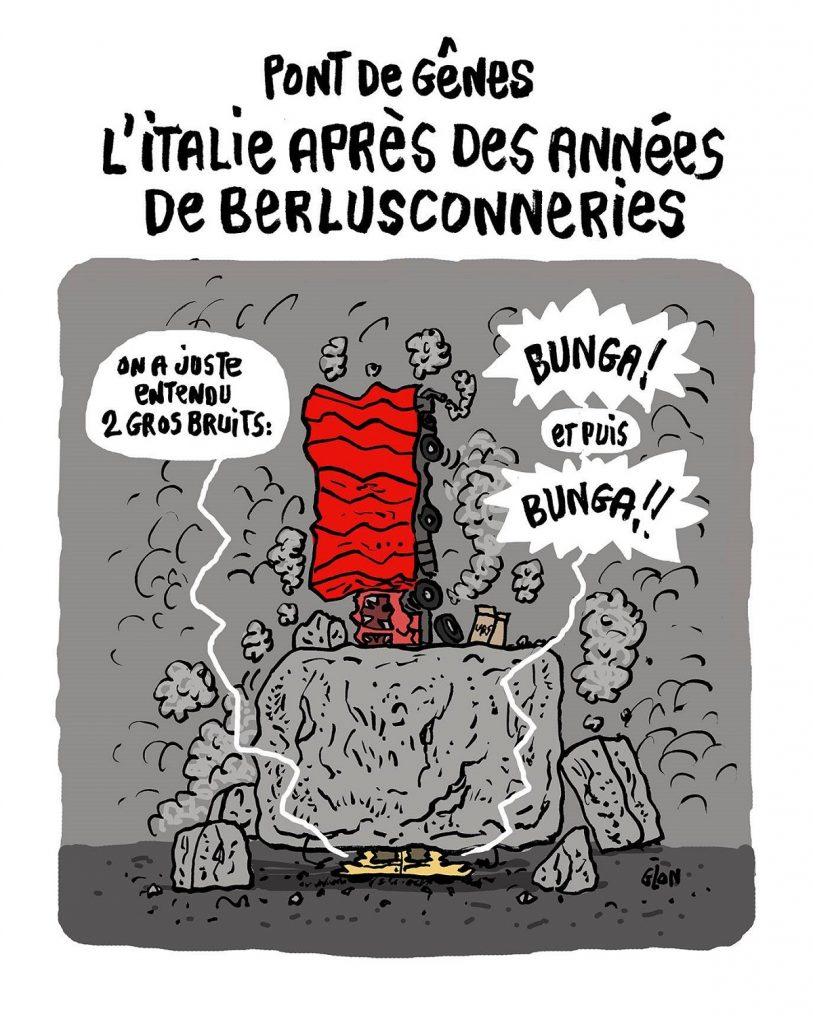 dessin d'actualité humoristique sur l'effondrement du pont Morandi à Gênes