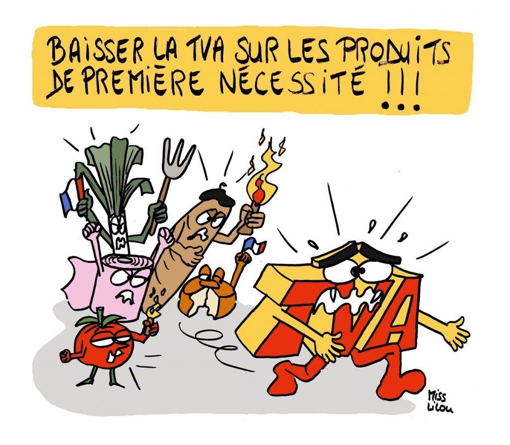 dessin d'actualité humoristique sur la baisse de la TVA