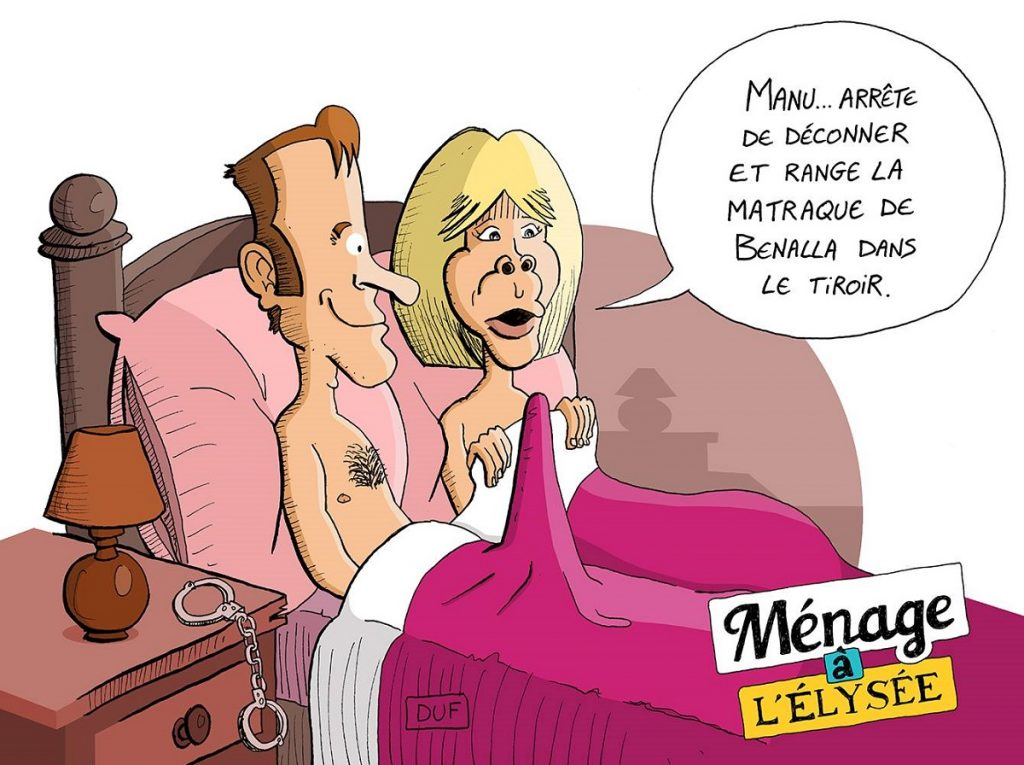dessin d'actualité humoristique sur le couple présidentiel et les gens qui déconnent