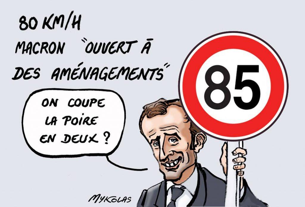 dessin d'actualité humoristique sur Emmanuel Macron et les aménagements de la limitation de vitesse à 80km/h