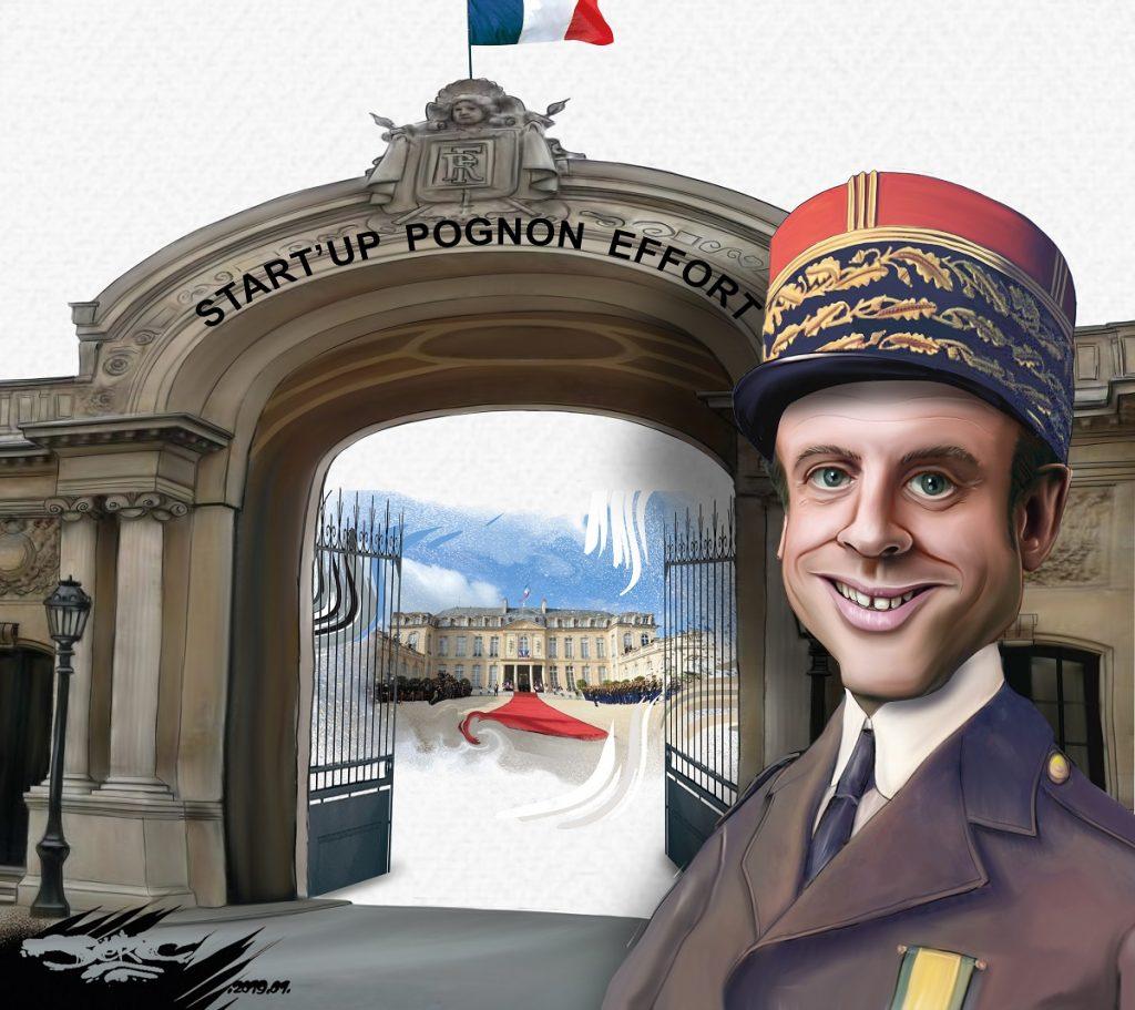 dessin d'actualité humoristique sur Emmanuel Macron