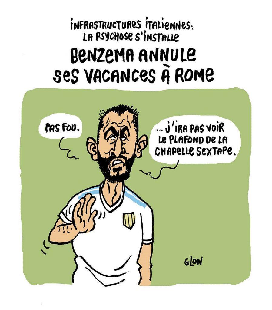 dessin d'actualité humoristique sur Karim Bensema et l'effondrement du viaduc de Gênes