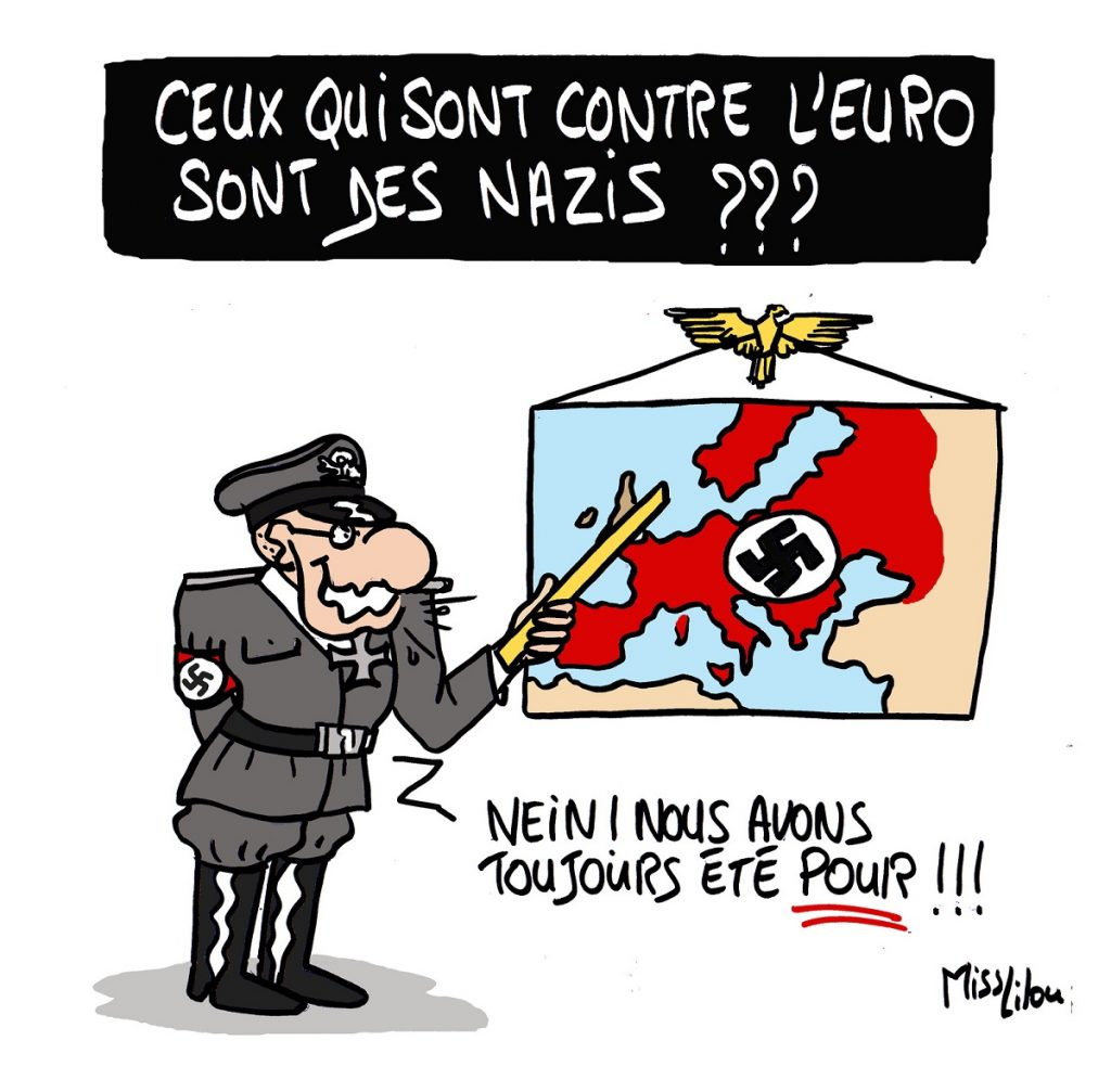 dessin d'actualité humoristique sur les opposants à l'Euro considérés comme des nazis