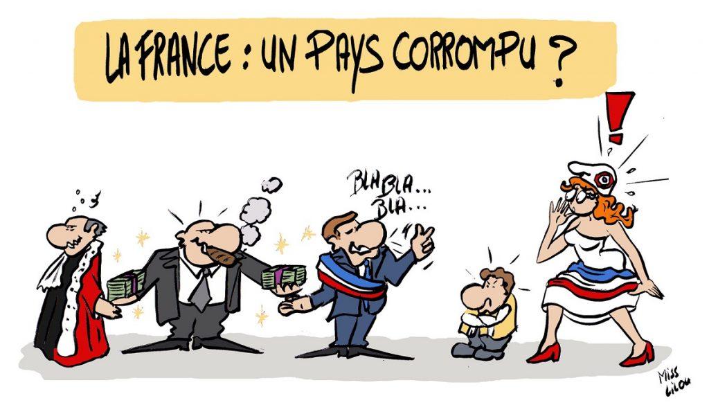dessin d'actualité humoristique sur les soupçons de corruption dans la République Française