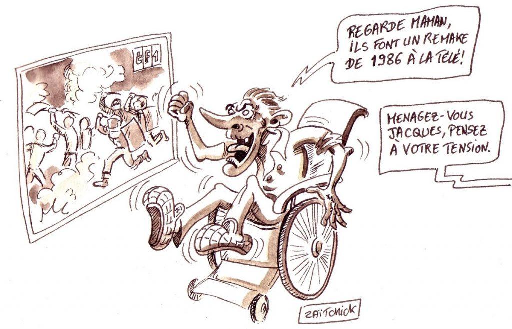 dessin d'actualité humoristique sur Jacques Chirac face au mouvement des gilets jaunes