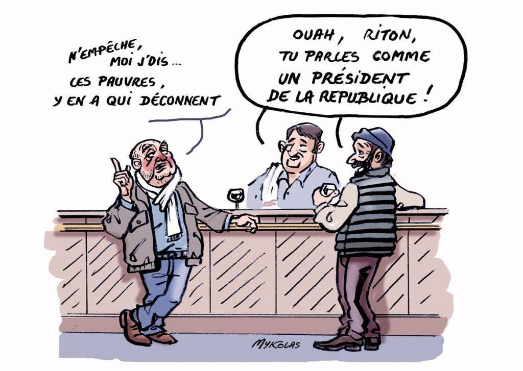 dessin d'actualité humoristique sur les pauvres qui déconnent d'Emmanuel Macron