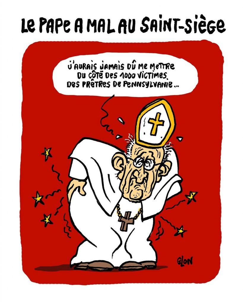 dessin d'actualité humoristique du Pape François face au scandale des prêtres pédophiles de Pennsylvanie
