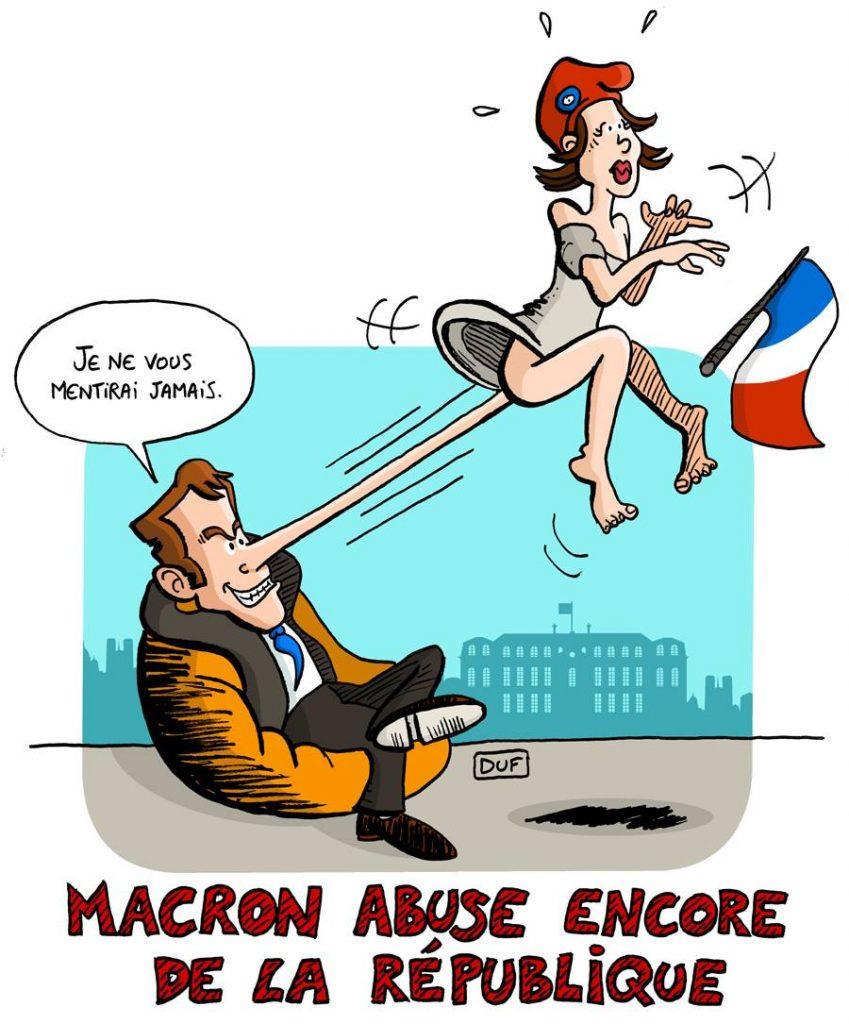 dessin d'actualité humoristique sur les voeux d'Emmanuel Macron