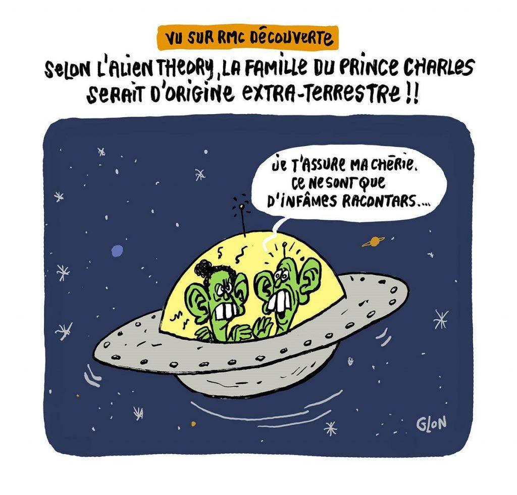dessin d'actualité humoristique sur le Prince Charles et l'Alien Theory
