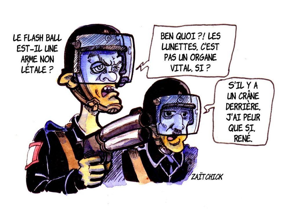 dessin d'actualité humoristique sur les violences policières et l'utilisation des flash-balls pendant les manifestations des gilets jaunes et l'utilisation du flashball