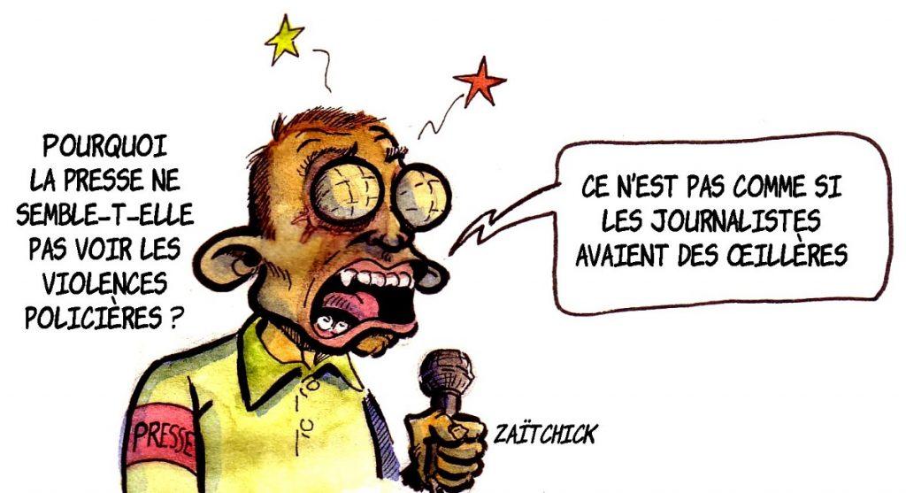 dessin d'actualité humoristique sur l'aveuglement de la presse face aux violences policières lors du mouvement des gilets jaunes