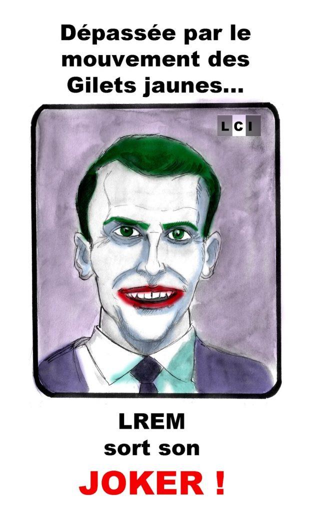 dessin d'actualité humoristique sur Emmanuel Macron et LREM face au mouvement des gilets jaunes