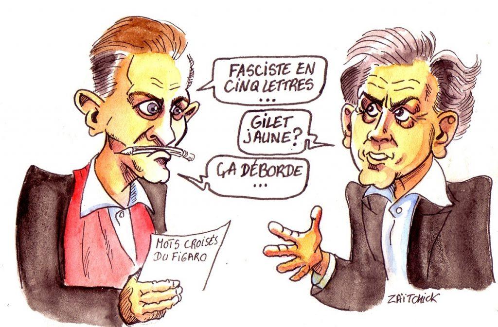dessin d'actualité humoristique sur Christophe Barbier et Bernard-Henri Lévy