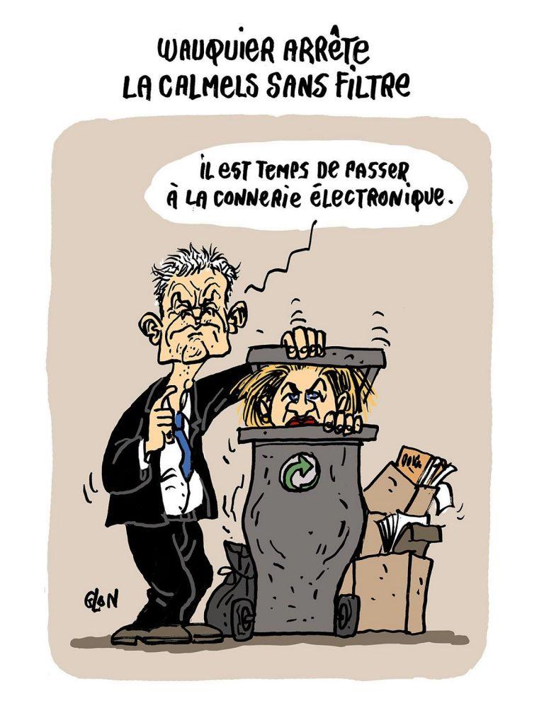 dessin d'actualité humoristique sur le divorce entre Laurent Wauquiez et Virginie Calmels