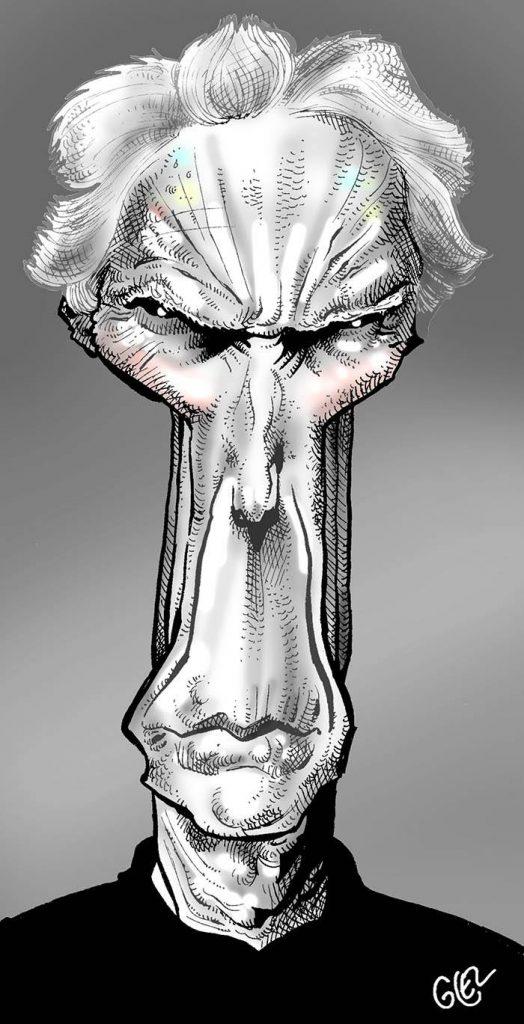 caricature portrait de Clint Eastwood