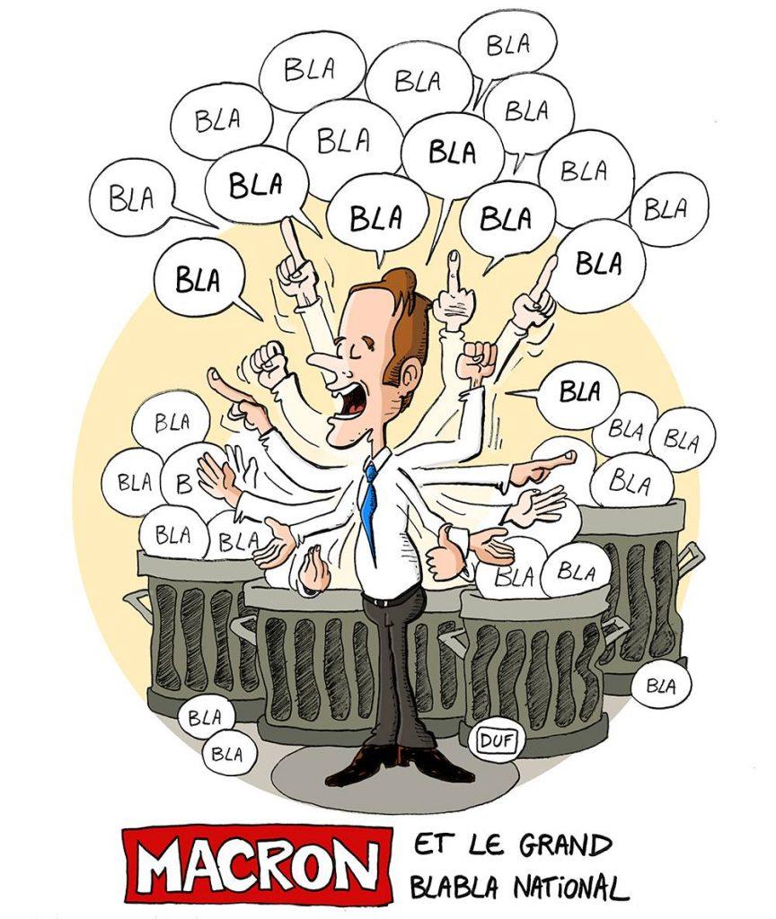 dessin d'actualité humoristique sur Emmanuel Macron et le grand débat