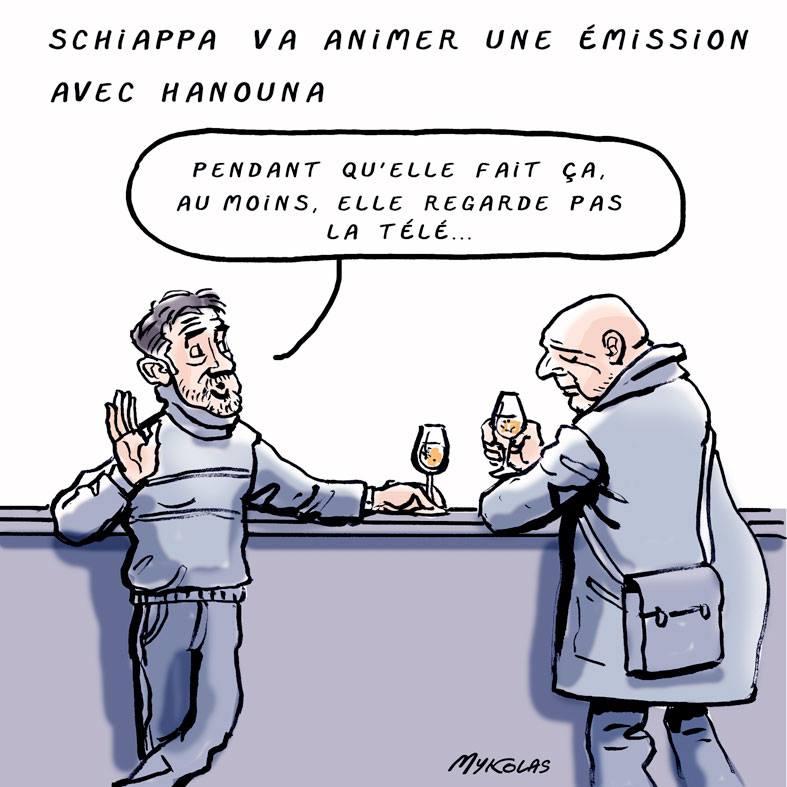 dessin d'actualité humoristique sur l'émission de Cyril Hanouna et Marlène Schiappa autour du grand débat national