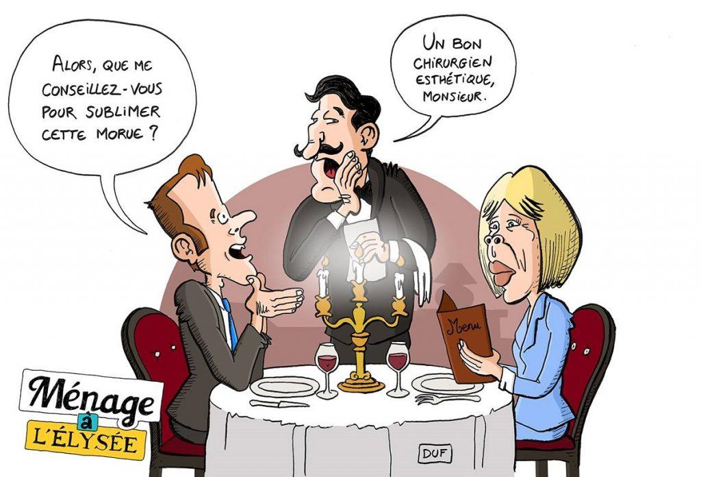 dessin d'actualité humoristique sur le couple présidentiel au restaurant