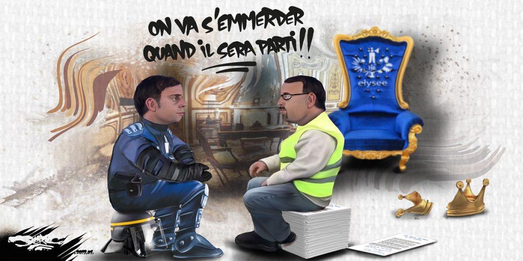 dessin d'actualité humoristique sur les gilets jaunes et le départ d'Emmanuel Macron