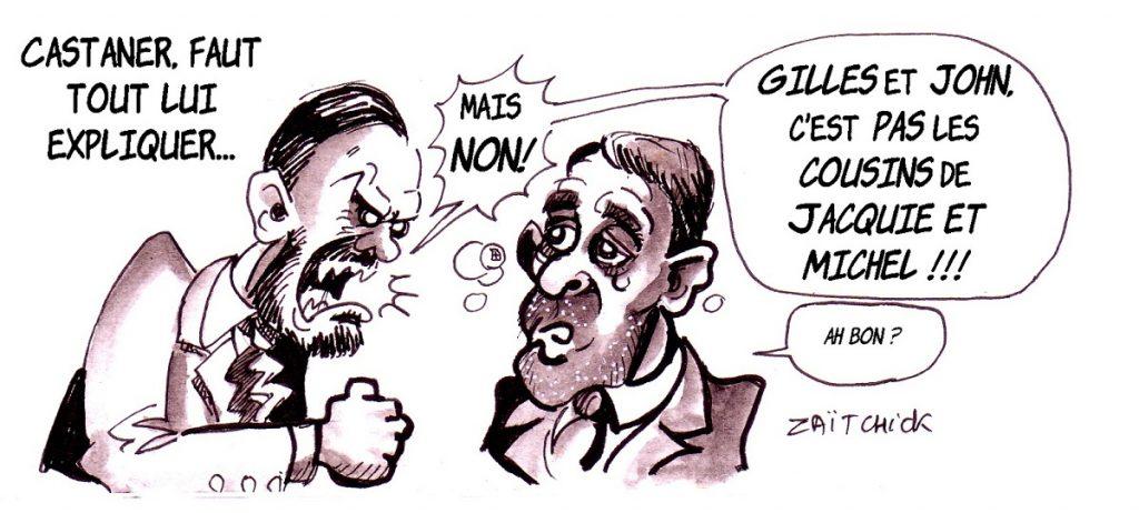 dessin d'actualité humoristique sur Christophe Castaner et le mouvement des gilets jaunes