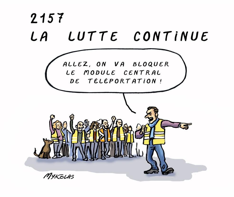 dessin d'actualité humoristique sur la pérennité du mouvement des gilets jaunes