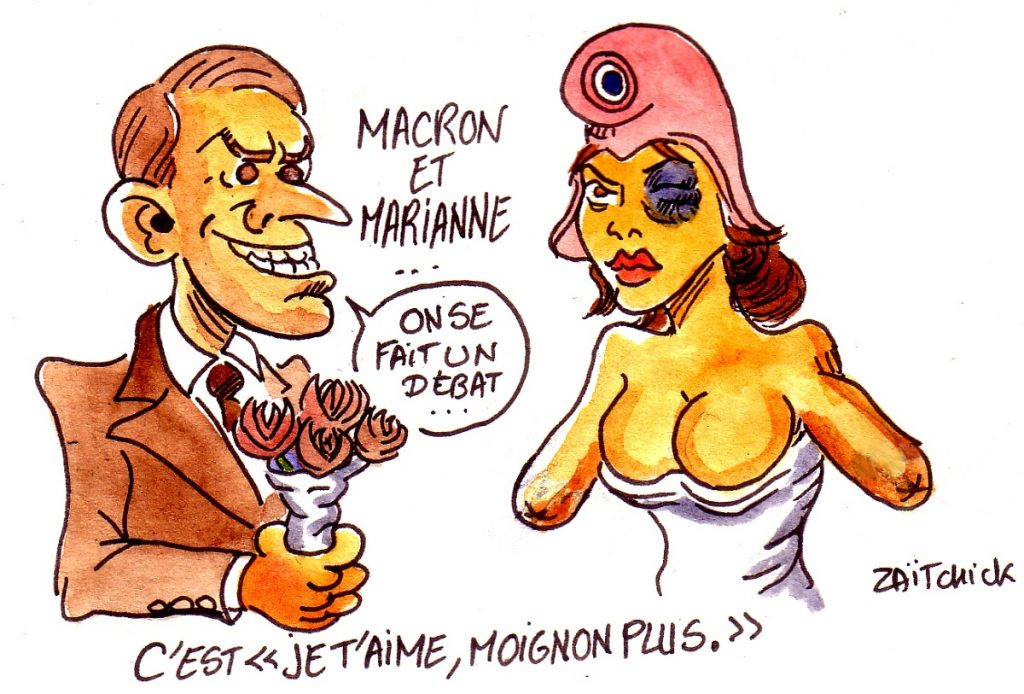 dessin d'actualité humoristique sur Emmanuel Macron et son grand débat après les violences policières