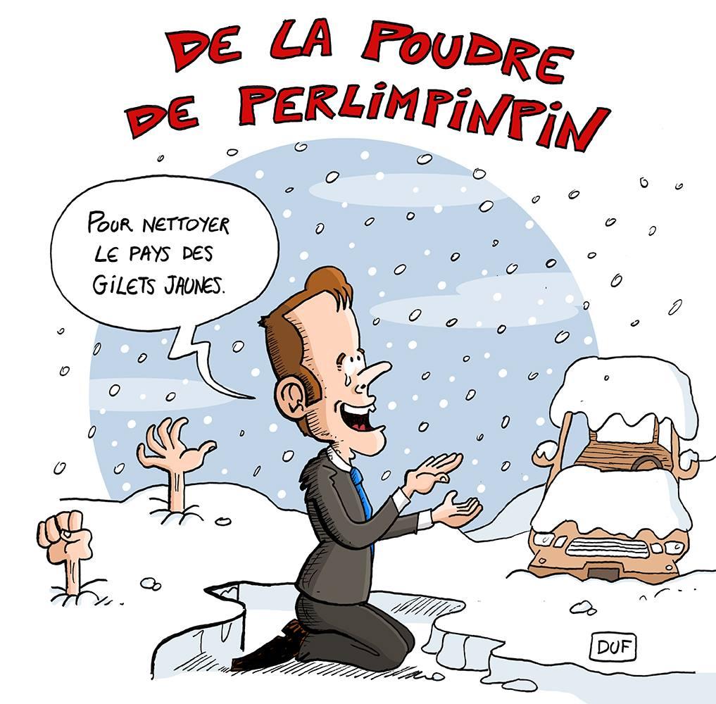 dessin d'actualité humoristique sur Emmanuel Macron et la France sous la neige