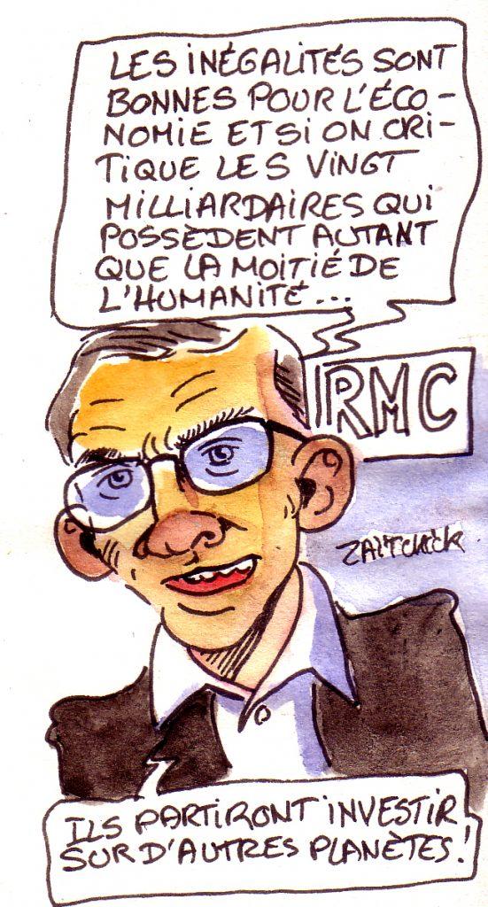 dessin d'actualité humoristique sur la défense des inégalités par Éric Brunet