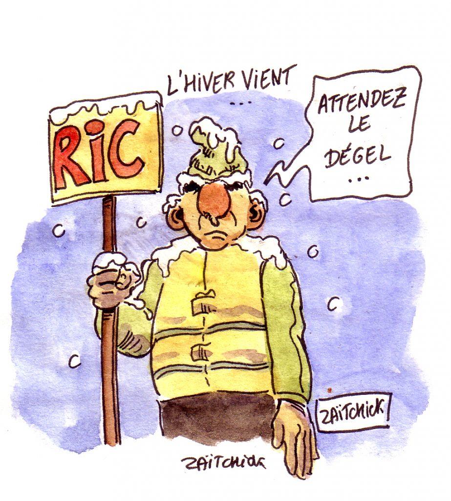 dessin d'actualité humoristique sur l'hiver et le mouvement des gilets jaunes