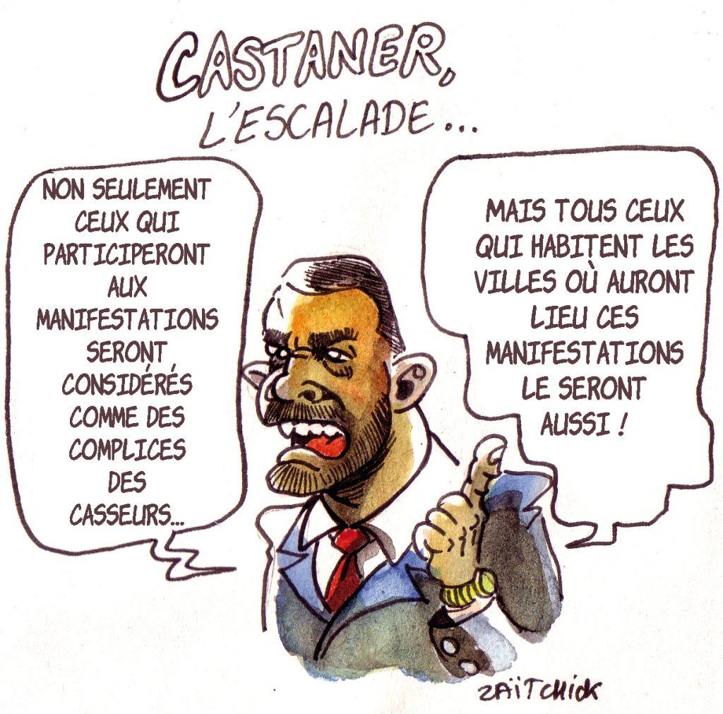 dessin d'actualité drôle sur Christophe Castaner et les casseurs pendant le mouvement des gilets jaunes