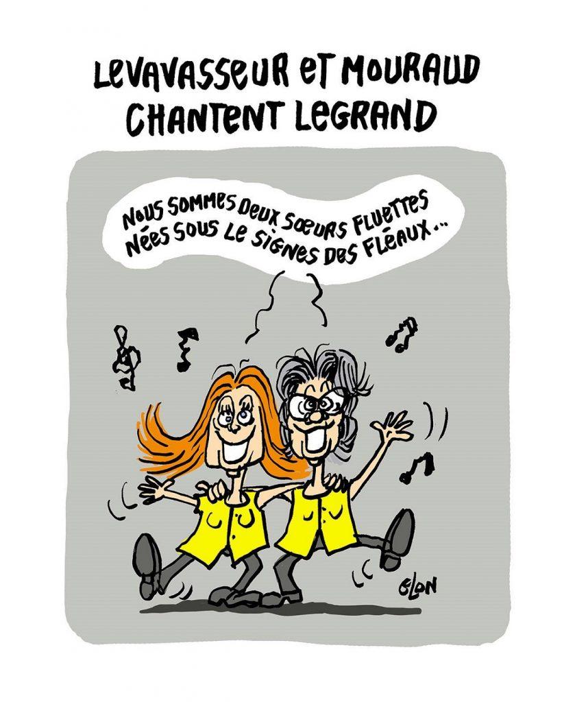 dessin d'actualité humoristique sur la mort de Michel Legrand, Jacline Mouraud et Ingrid Levavasseur