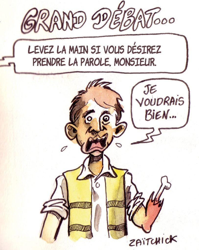 dessin d'actualité humoristique sur les violences policières lors des manifestations des gilets jaunes et le grand débat
