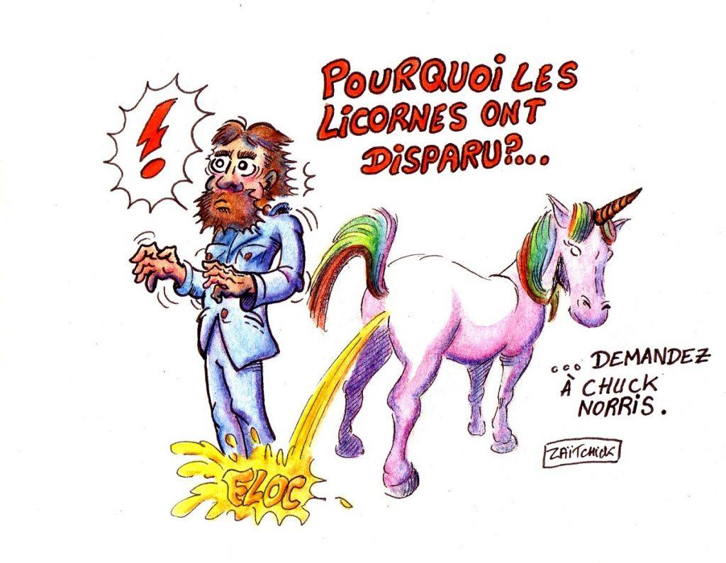 dessin d'actualité humoristique sur Chuck Norris et les licornes