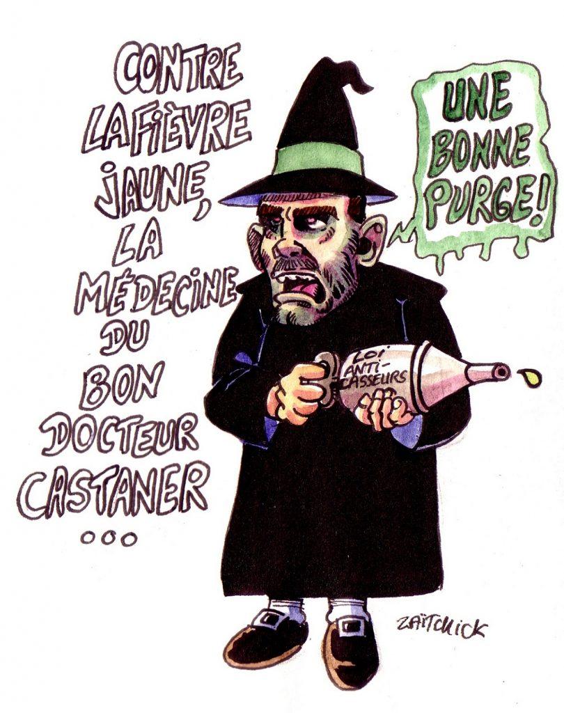 dessin d'actualité humoristique sur Christophe Castaner en bon docteur de la fièvre jaune