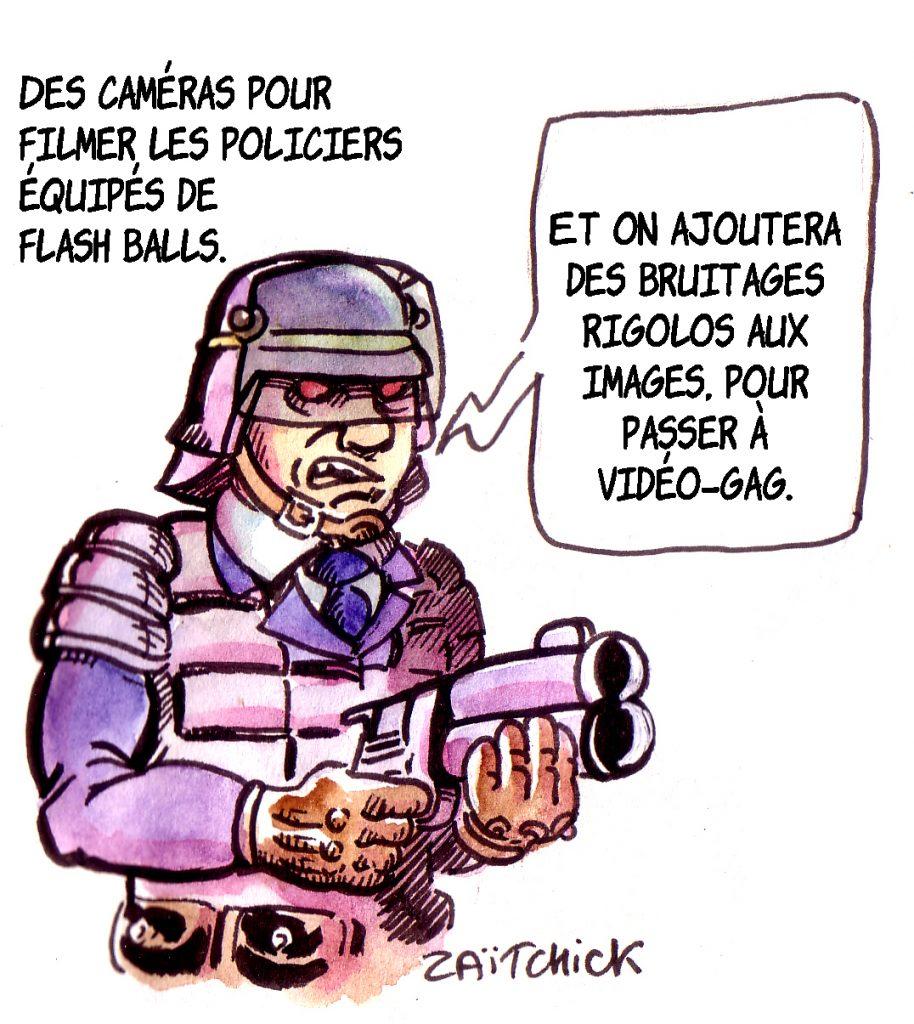 dessin d'actualité humoristique sur les violences policières et l'utilisation des flashballs