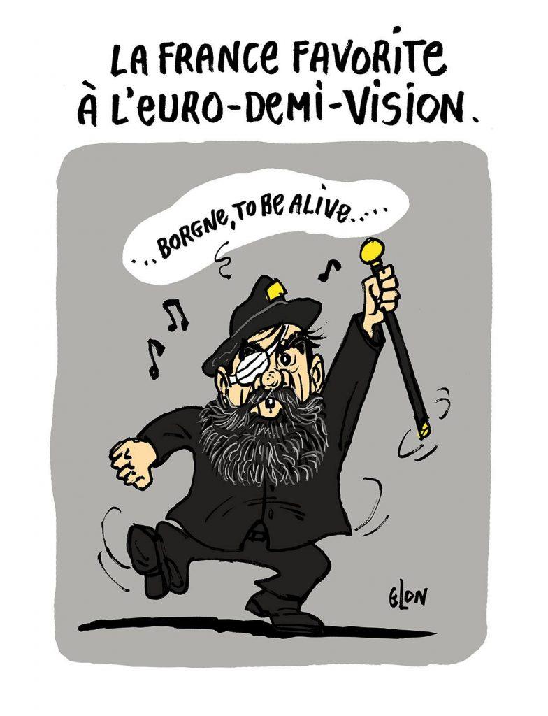 dessin d'actualité humoristique sur la blessure à l'oeil de Jérôme Rodrigues pendant les manifestations des gilets jaunes