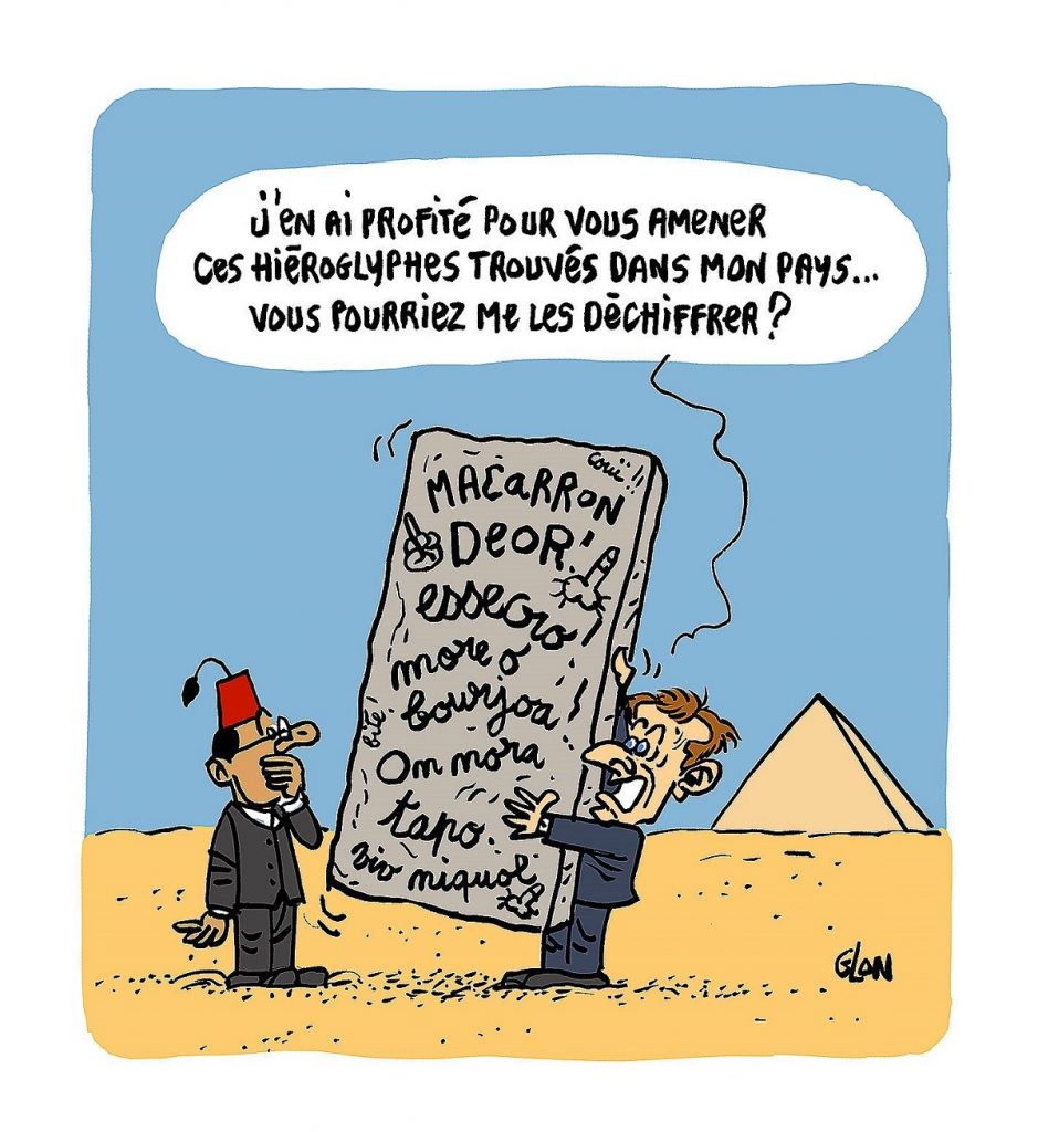 dessin d'actualité humoristique sur le voyage en Égypte d'Emmanuel Macron