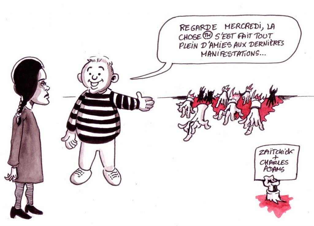 dessin d'actualité humoristique sur les violences policières lors des manifestations des gilets jaunes vues par la Famille Addams